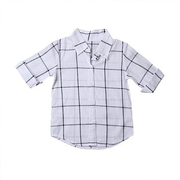 Toddler Kid Baby Boy Girls Shirts Plaid Casual Cotton Tops Turn-Down Collar Long Sleeve Shirt new arrive autumn children clothes