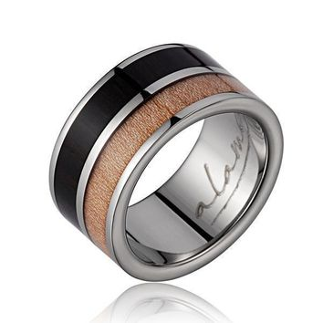 Mens Titanium Scroll Wedding Band Genuine Macassar Ebony & Maple Wood Scroll Ring - 10mm