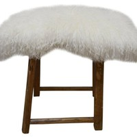 Shandong Stool w/ Tibetan Curly Lamb Fur