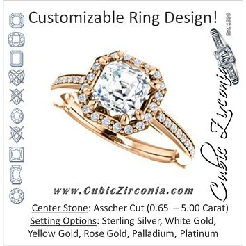 Cubic Zirconia Engagement Ring- The Jessika (Customizable Cathedral-set Asscher Cut Design with Halo and Thin Pavé Band)