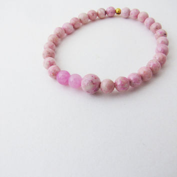 Pastel pink jade and marble stretch  bracelet  Pink by Nuann