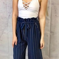 That Much Better Navy Striped Pants