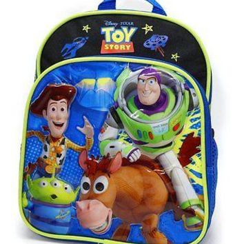 "Licensed Disney Toy Story Black Boys 10"" Toddler Backpack Woddy & Buzz"