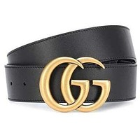 GUCCI Tide brand fashion men and women models double G smooth buckle belt