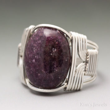 Dark Lepidolite Sterling Silver Wire Wrapped Cabochon Ring