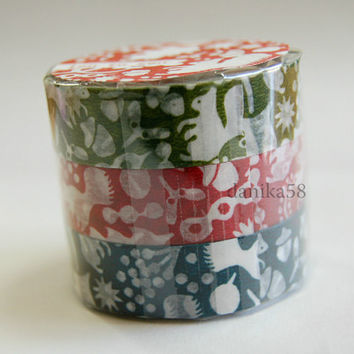 washi tape, 3 rolls of squirrels in the forest washi tape 15mm x 15M