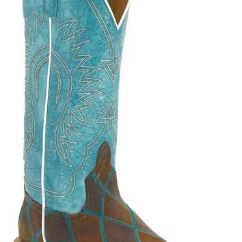 Anderson Bean® Ladies Distressed Brown Patchwork w/Blue Top Square Toe Western Boot