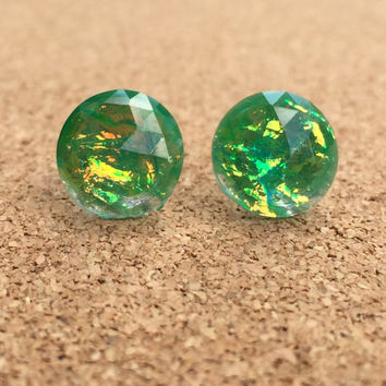 Earrings Green Fire Opal Resin Boho Earrings 12MM Faceted Earrings