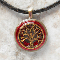 tree of life necklace: red - mens jewelry - leather cord - boyfriend gift - celtic jewelry - men necklace - tree necklace - wiccan jewelry