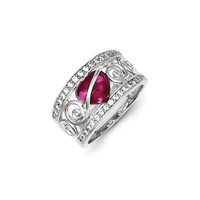 Sterling Silver Red Heart CZ & Clear CZ Ring: 7