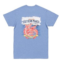Shrimp Festival Tee in Washed Blue by Southern Marsh - FINAL SALE