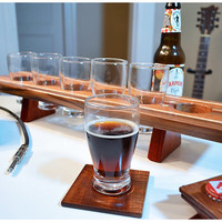 Handmade Wood Mini Brew Beer Sampler and Coaster Set 6 - The Small Stone - Curly Maple & Mahogany