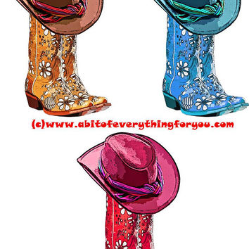 cowgirls boots cowgirl hat printable art red brown blue clipart png digital instant download image graphics country western art