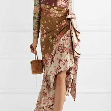 Gardens Of Thorns Multicolor Floral Pattern Long Puff Sleeve Tie Mock Neck Cut Out Ruffle Asymmetric Midi Dress