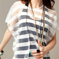 Mesh White Stripe Shirt