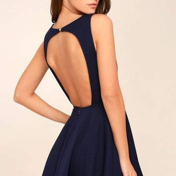 Gal About Town Navy Blue Backless Skater Dress