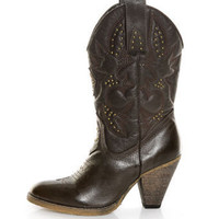 Very Volatile Boulder Brown Embroidered Leather Cowboy Boots - $97.00