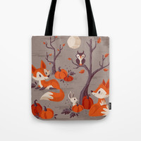 Fall Foxes Tote Bag by therewillbecute