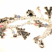 Mother of Twins Baby Charm Bracelet with Swarovski Crystal Drops
