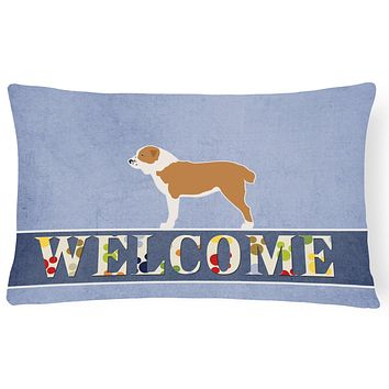 Central Asian Shepherd Dog Welcome Canvas Fabric Decorative Pillow BB5532PW1216
