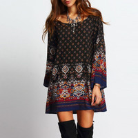 Black Retro Paisley and Geometric Print Long Sleeve Dress