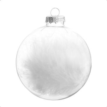 LIDO glass Christmas bauble, white, 8 cm | Maisons du Monde