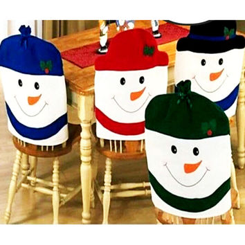 Christmas Decoration Supplies for dining table home party Christmas Colorful nowman Shaped chair cover Back Seat Coverings