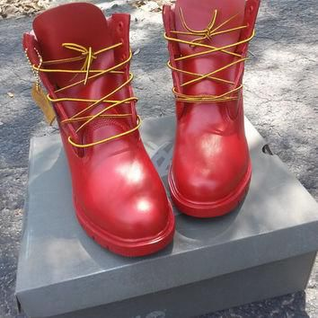 Timberland? 6' Boots Red Handpainted Art Customization and Fashion Quality Low Price S