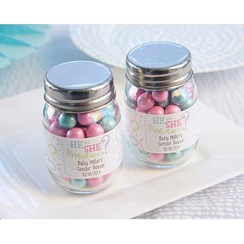 """Gender Reveal"" Personalized Mini Mason Jar (Set of 12)"