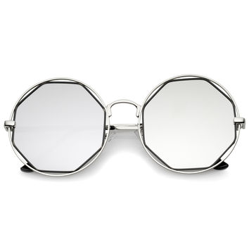 Women's Round Octagon Cut Out Mirror Lens Sunglasses C025