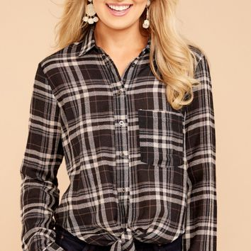 Be Cool Black Plaid Button Up Top