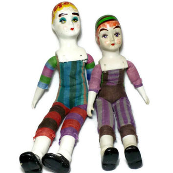 Vaudeville Art Dolls, Altered Circus Dolls, Two Porcelain Colorful 1920s OOAK Cloth Body