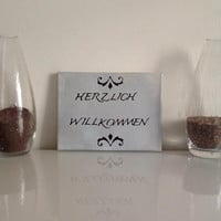 Herzlich Willkommen  - small canvas gray black - Wall Art Canvas handmade written- original by misssfaith