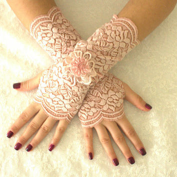 pink Wedding gloves lace gloves free ship, Rose goth unique gloves,Rustic