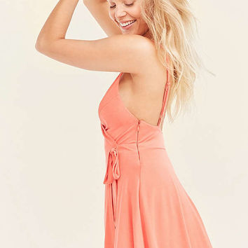 Kimchi Blue Veruca Cupro Skorted Wrap Romper | Urban Outfitters