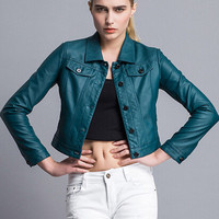 Sea Green Cropped Jacket