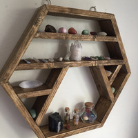 Large Crystal display shelf, hexagon shelf, display shelf, crystals, gems shelf, reiki, moon phase