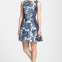 Jessica Simpson Floral Print Twill Fit & Flare Dress