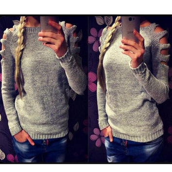 Womens Solid Long Sleeved Pullover Hollow Out Knited Sweater Autumn Winter Gift-90