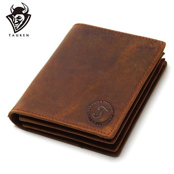 Vintage Crazy Horse Handmade Leather Men Wallets Multi-Functional Cowhide Coin Purse Genuine Leather Wallet For Men