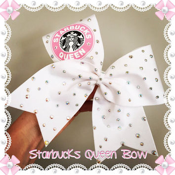 Starbucks Queen Crystal Rhinestone Embellished Cheer Bow White