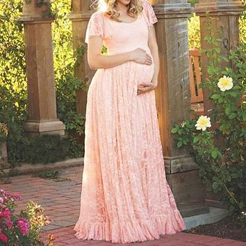 Vestidos 2018 Summer Pregnant Women Lace Crochet Maxi Long Dress Sexy Short Sleeve Casual Loose Vestidos Maternity Clothings