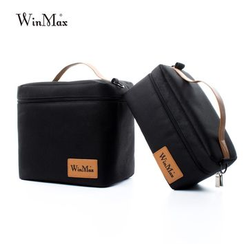 Winmax Factory Outlet Black Insulated Daily Lunch Bag Box Sets Portable Food Safe Big Container Thermal Picnic Cooler Lunch Bags