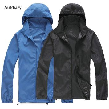 Aufdiazy Men Women Quick Dry Hiking Jackets Hat Can Be Stored Waterproof Sun Protection Outdoor Sports Skin Coats Female JW004