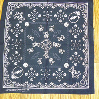 Grateful Dead Steal Your Face Dancing Bear Bandana BLACK hippie Deadhead