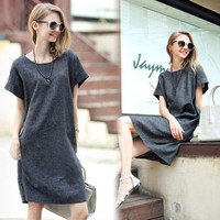 Gray Short-Sleeve Shift Dress