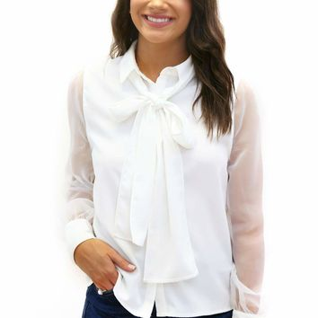 Sheer Sleeve Ascot Blouse