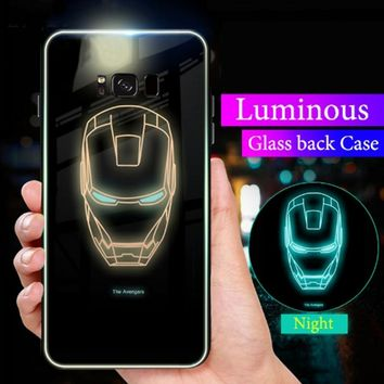Luminous Glass Marvel spider Case For Samsung Galaxy Note 9 Note 8 Case ironMan Batman Cover For Samsung Galaxy S9 S8 Plus Case