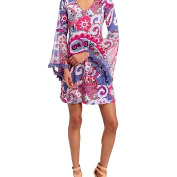 Paisley Print Crochet Bell Sleeve Shift Dress