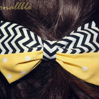Black and White Chevron Bow mixed with Yellow and White Polka Dots - Clip on Hair Bow